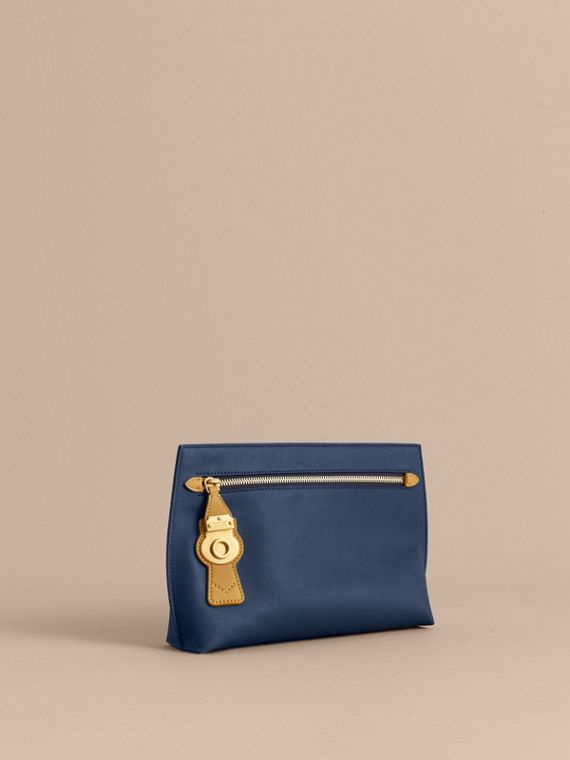 Two-tone Trench Leather Wristlet Pouch in Ink Blue/ochre Yellow