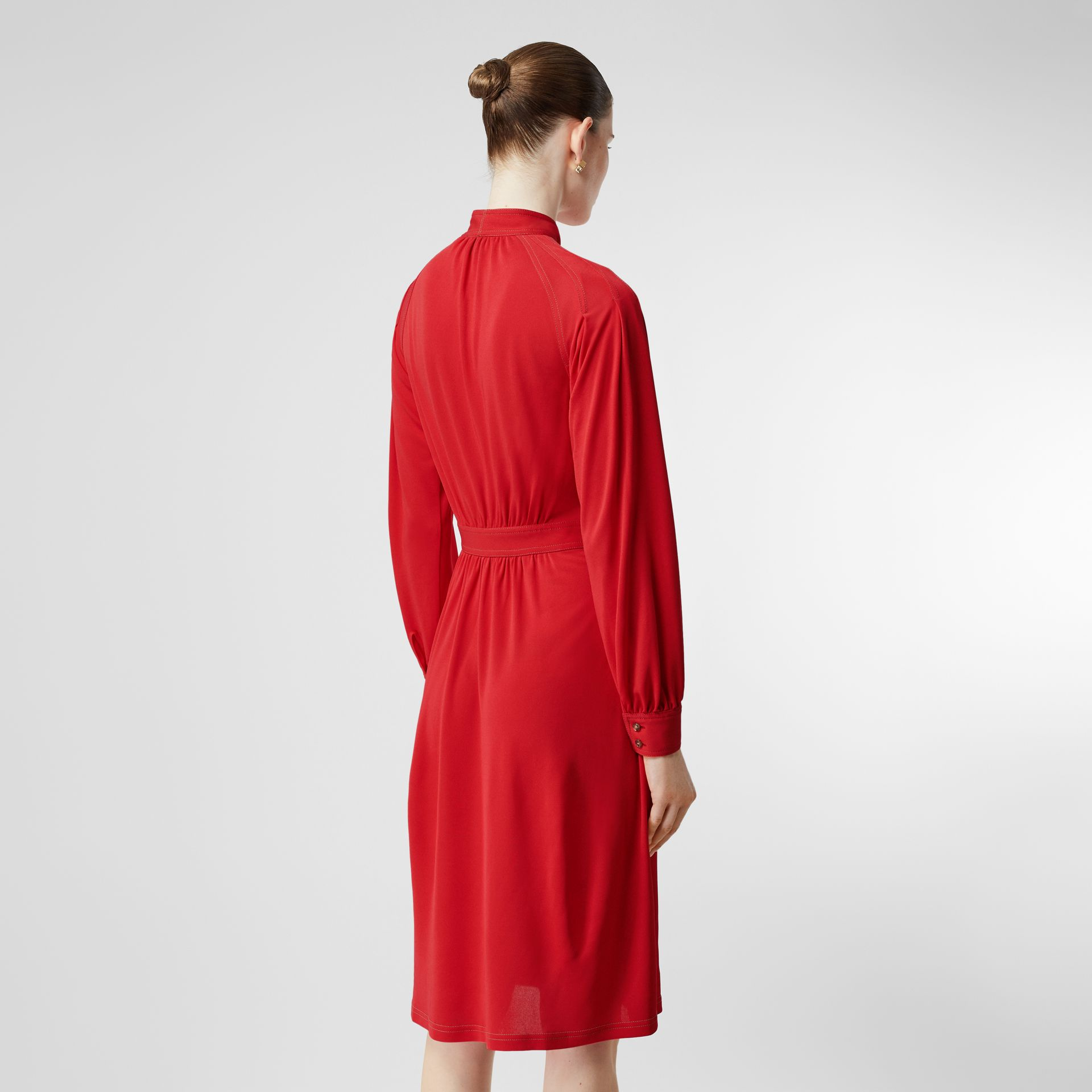 Topstitch Detail Jersey Tie-neck Dress in Bright Red - Women | Burberry - gallery image 2