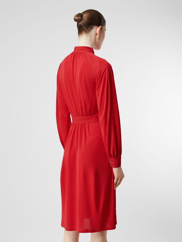 Topstitch Detail Jersey Tie-neck Dress in Bright Red - Women | Burberry United Kingdom - cell image 2