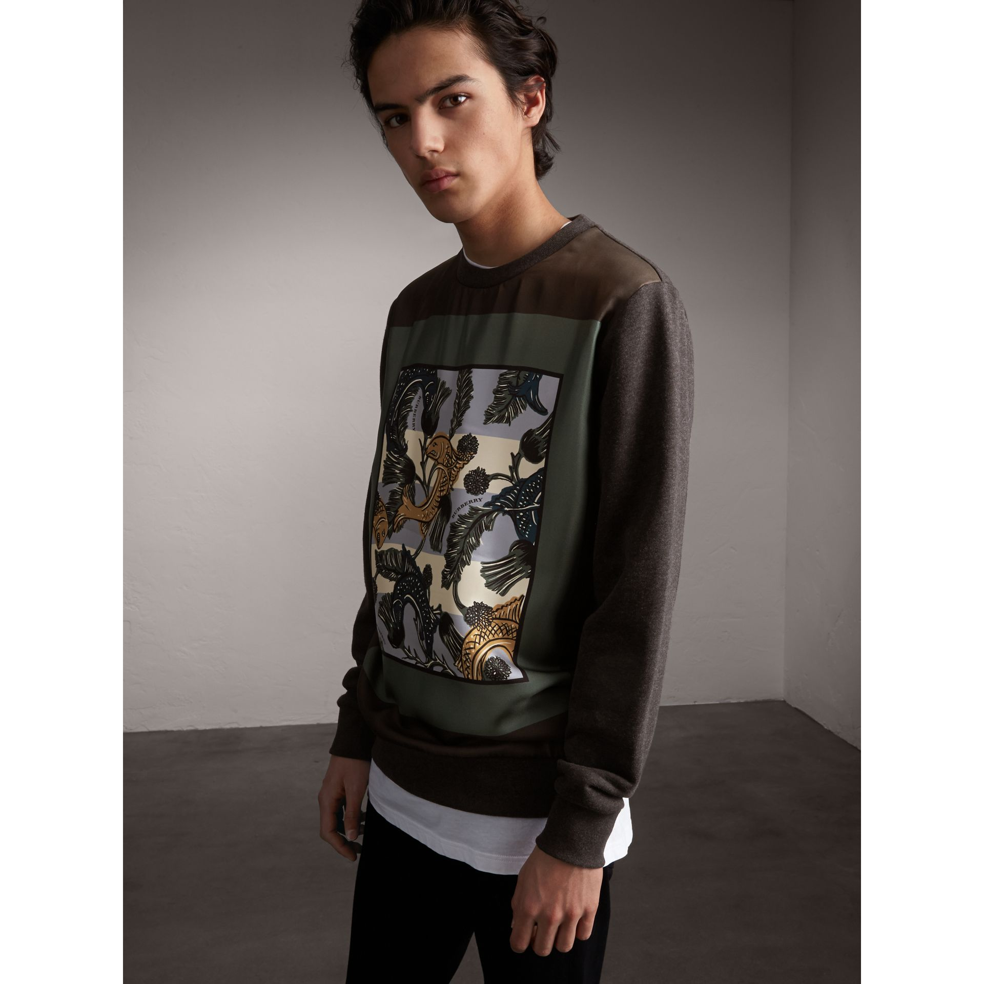 Unisex Beasts Print Silk Panel Cotton Sweatshirt in Charcoal Melange - Men | Burberry - gallery image 1