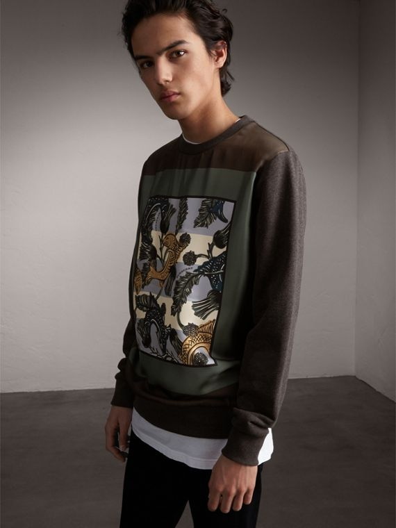 Unisex Beasts Print Silk Panel Cotton Sweatshirt - Men | Burberry