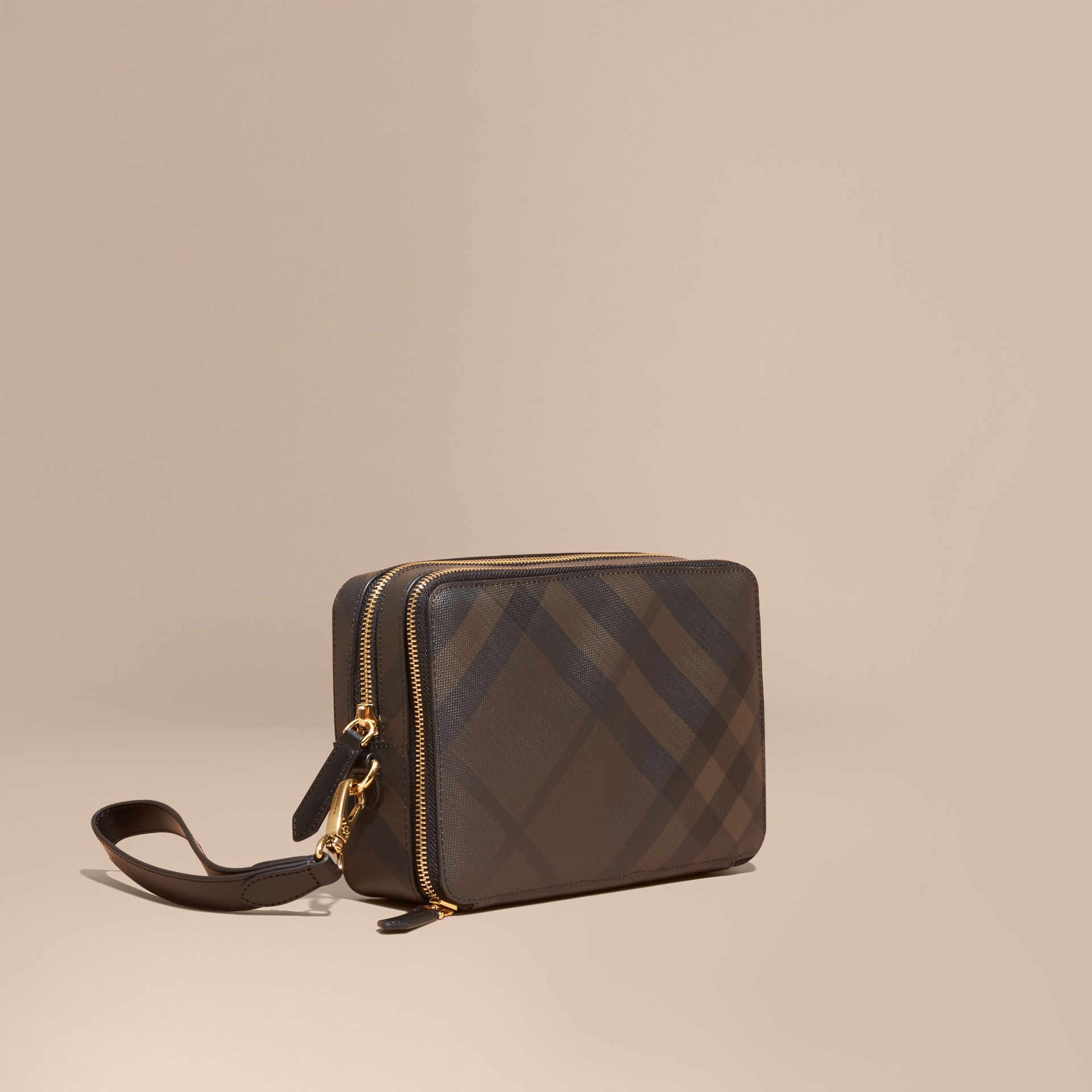 Leather-trimmed London Check Pouch in Chocolate/black - Men | Burberry - gallery image 1