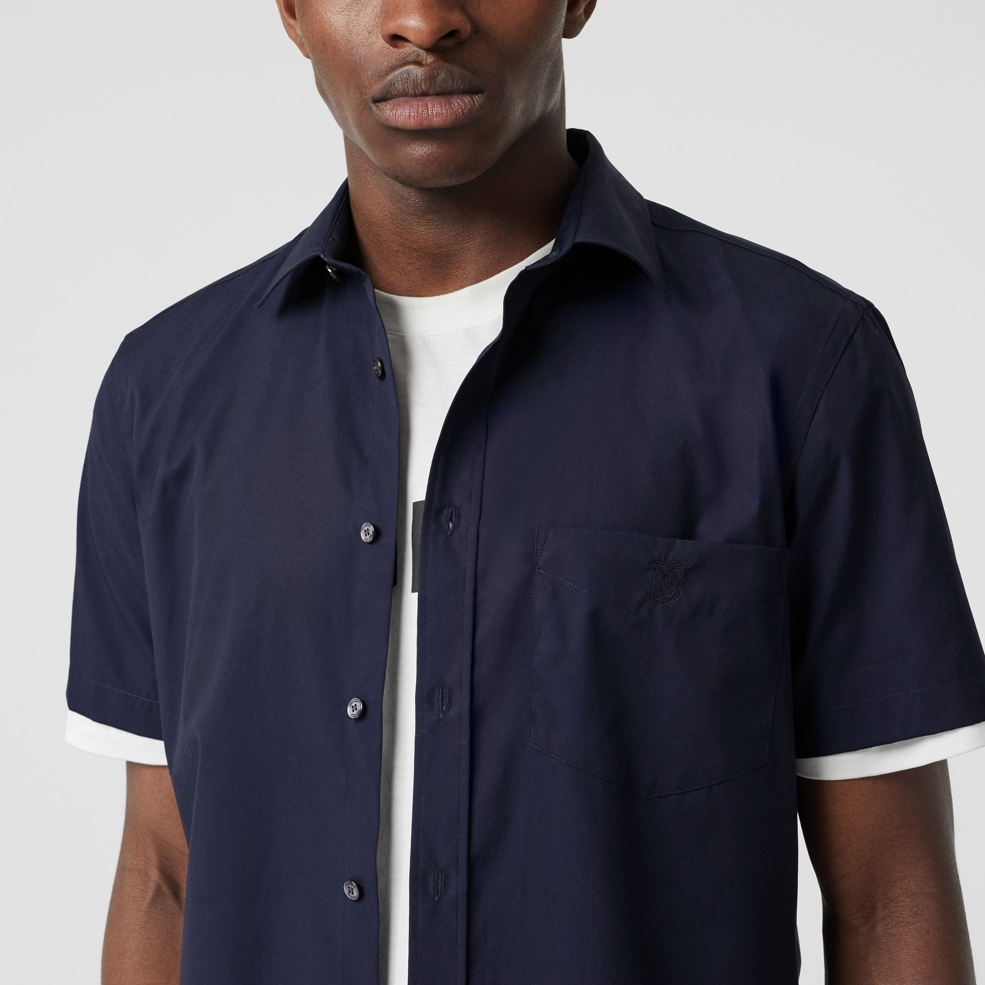 Short-sleeve Monogram Motif Stretch Cotton Shirt in Navy - Men | Burberry - gallery image 1