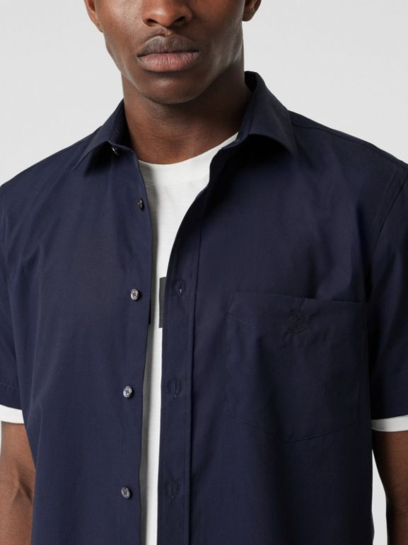 Short-sleeve Monogram Motif Stretch Cotton Shirt in Navy - Men | Burberry - cell image 1