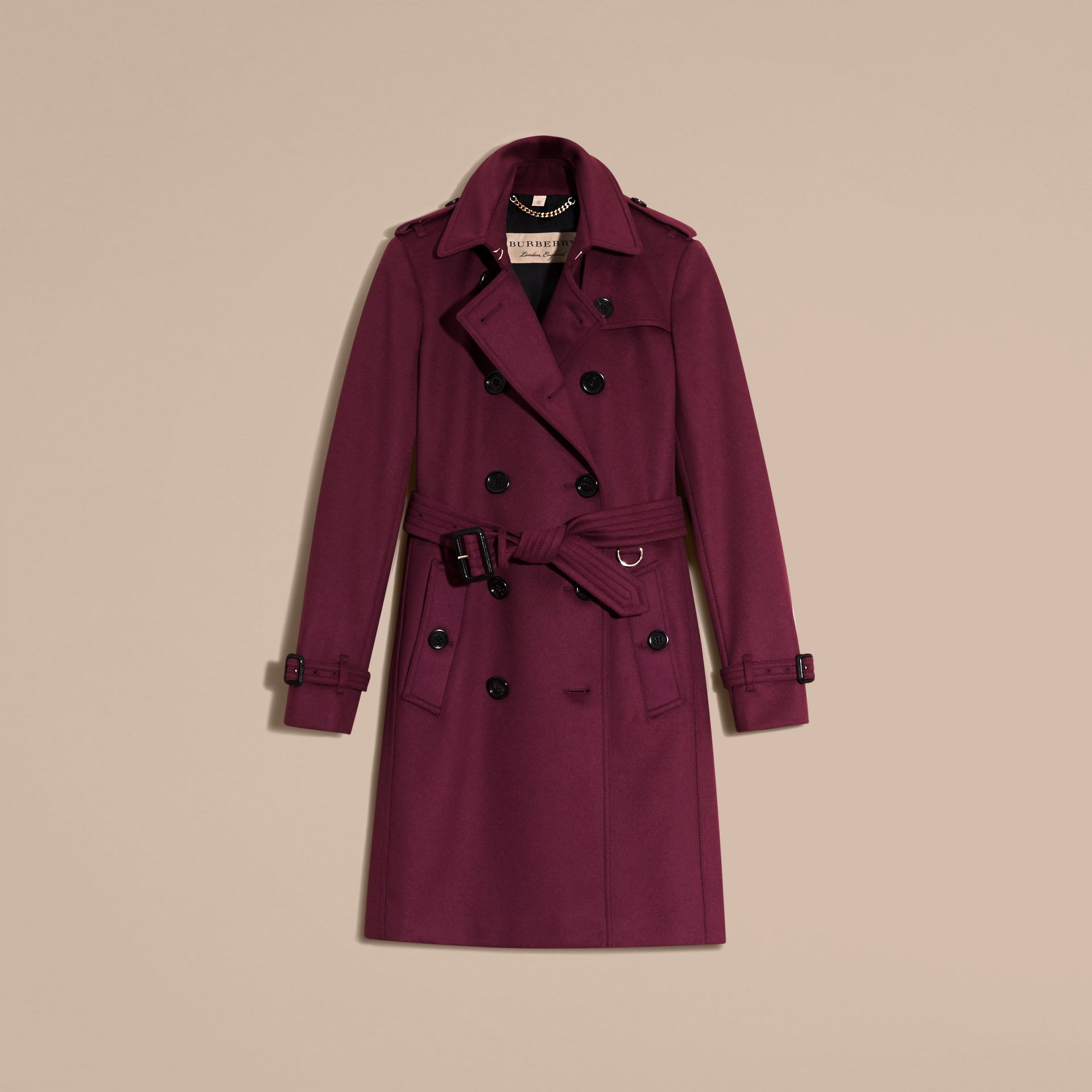 Cherry pink Wool Cashmere Trench Coat - gallery image 4