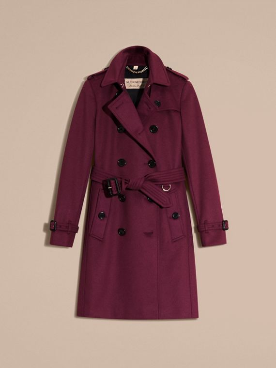 Cherry pink Wool Cashmere Trench Coat - cell image 3
