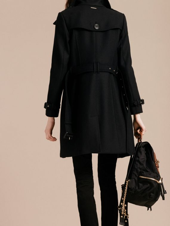 Technical Wool Cashmere Funnel Neck Coat in Black - cell image 2