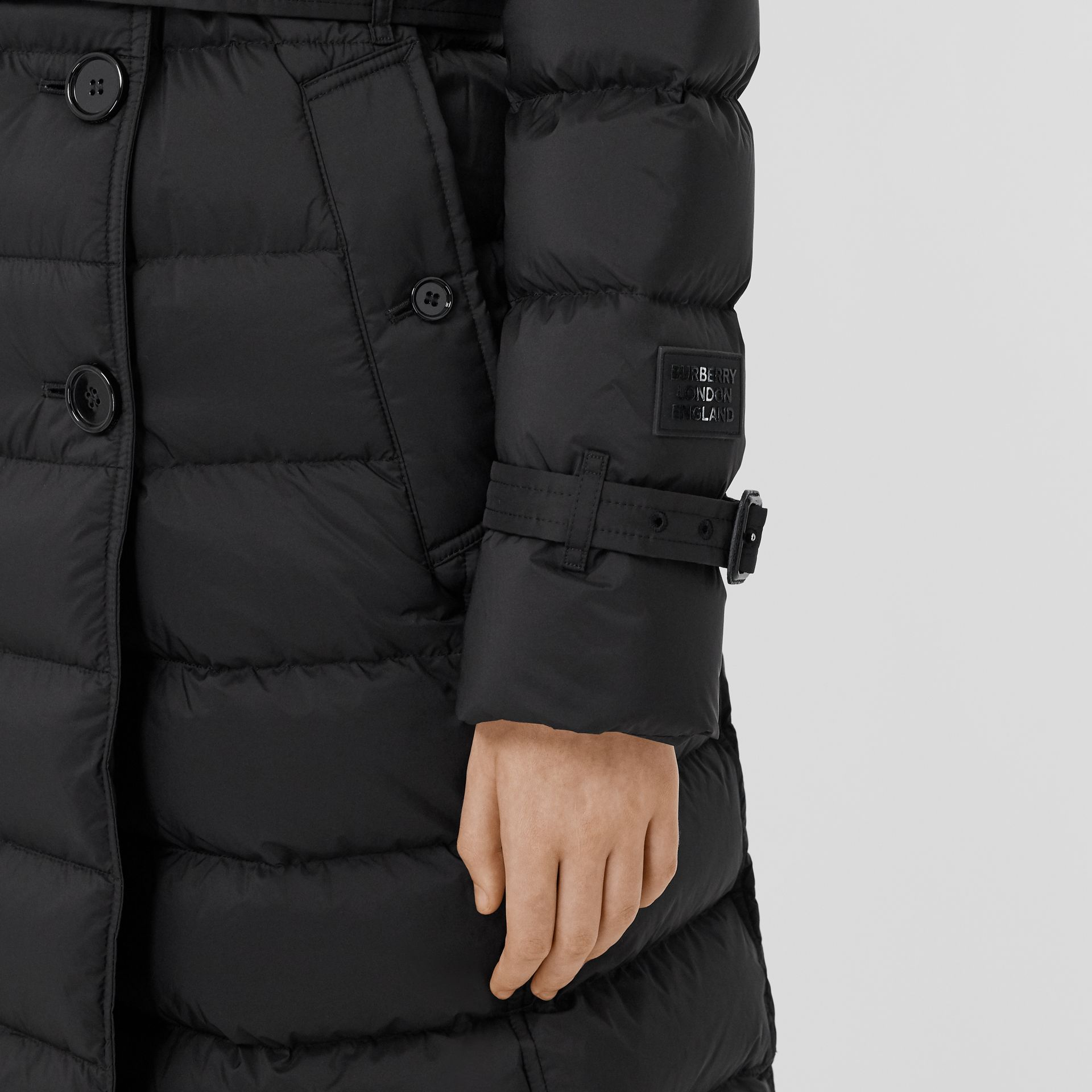 Detachable Hood Down-filled Coat in Black - Women | Burberry - gallery image 5