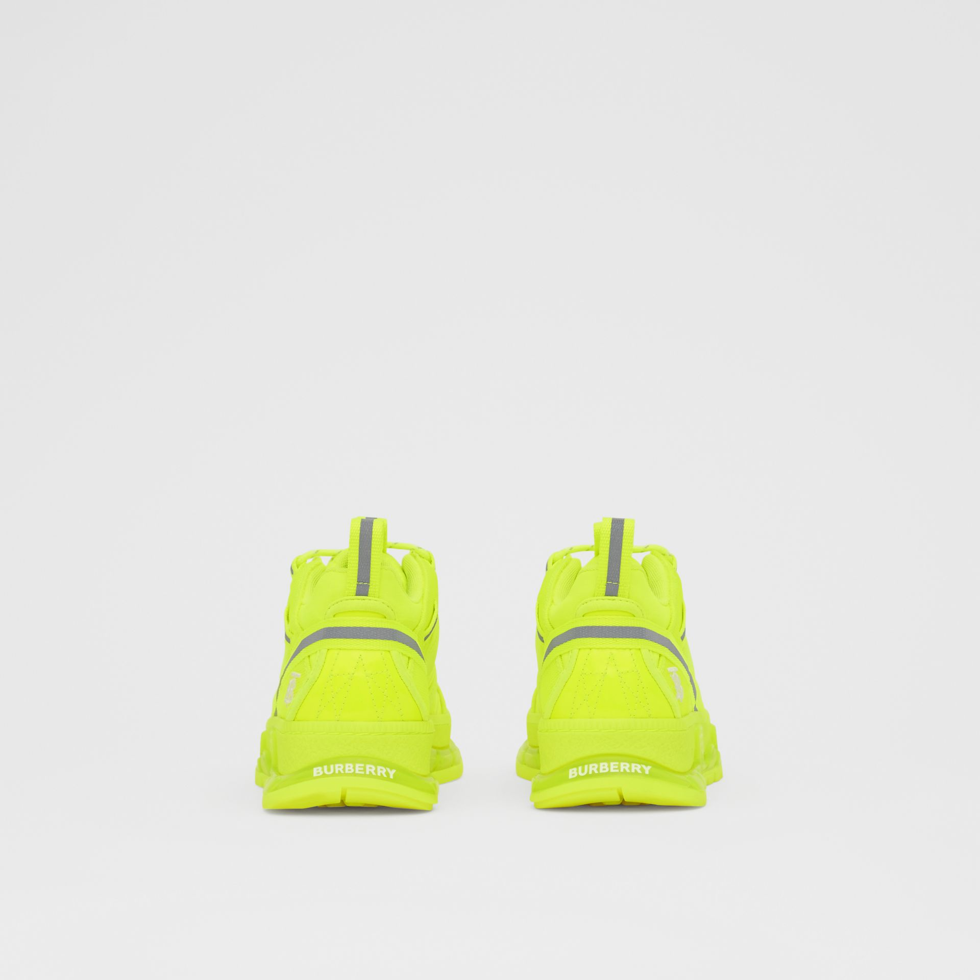 Nylon and Cotton Union Sneakers in Fluorescent Yellow - Women | Burberry United Kingdom - gallery image 4