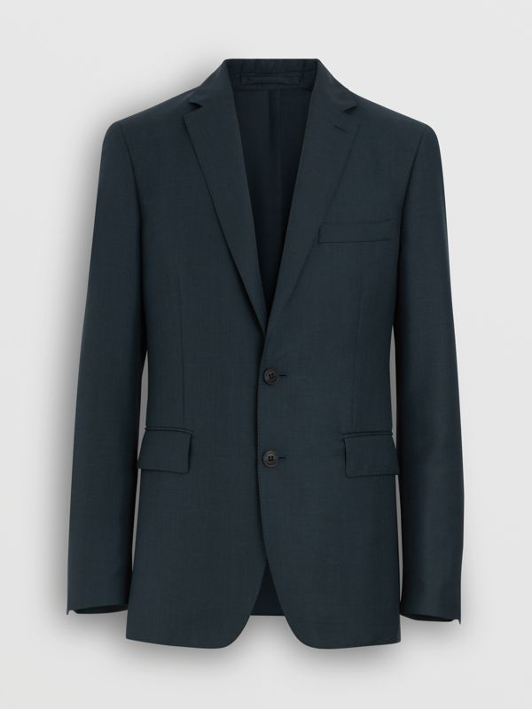 Slim Fit Wool Mohair Silk Suit in Dark Teal - Men | Burberry United Kingdom - cell image 3
