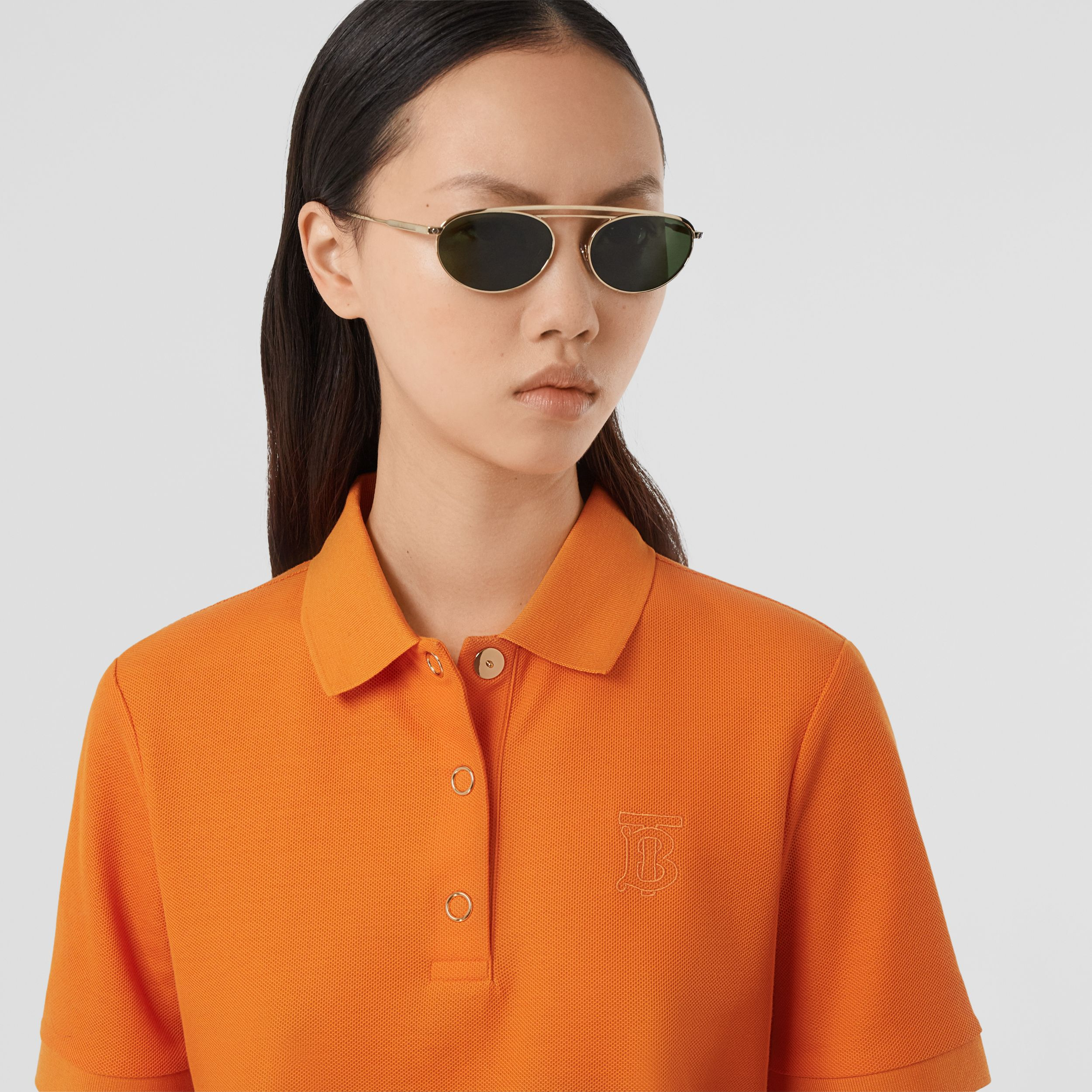 Monogram Motif Cotton Piqué Polo Shirt in Bright Orange - Women | Burberry - 2