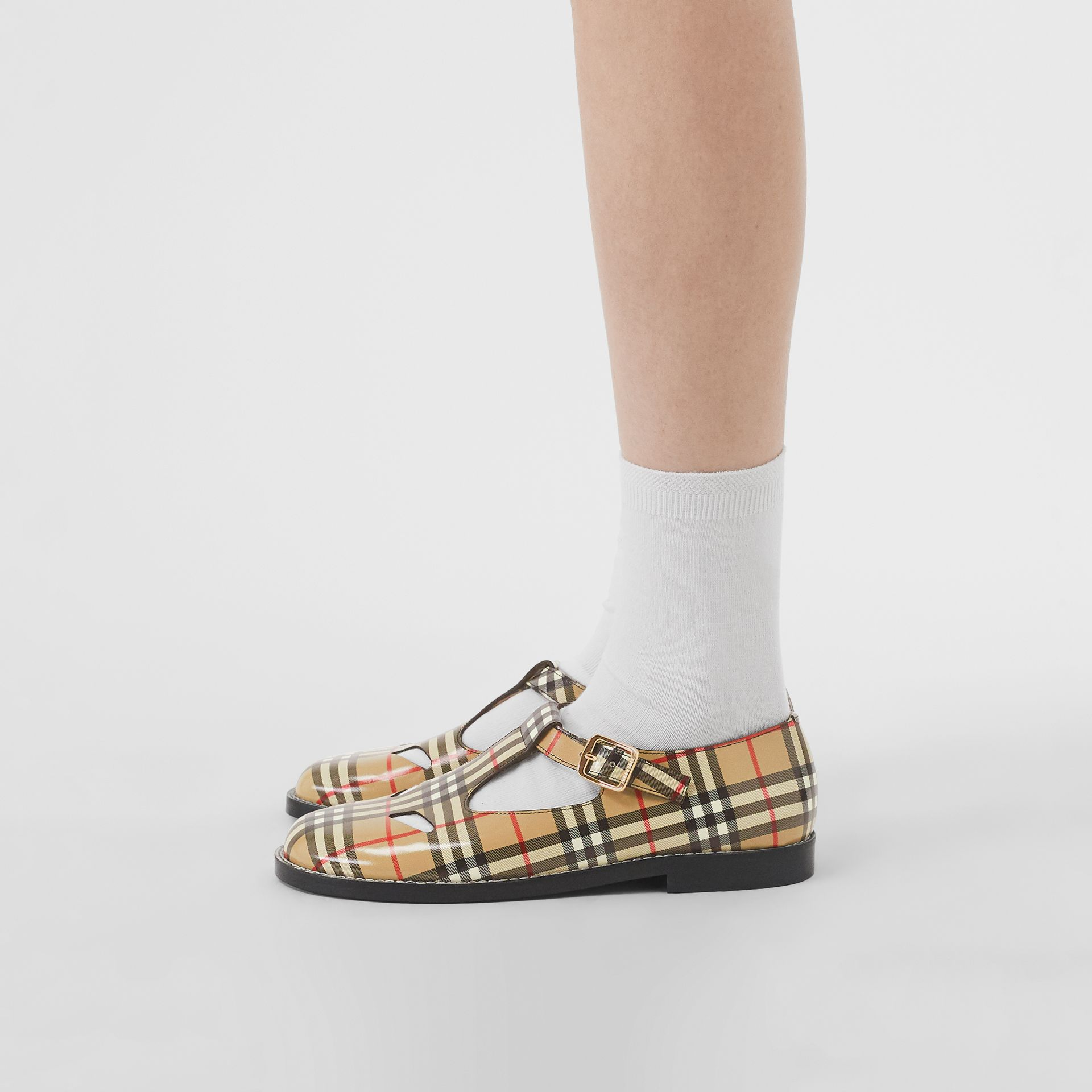 Vintage Check Leather T-Bar Shoes in Archive Beige - Women | Burberry - gallery image 2