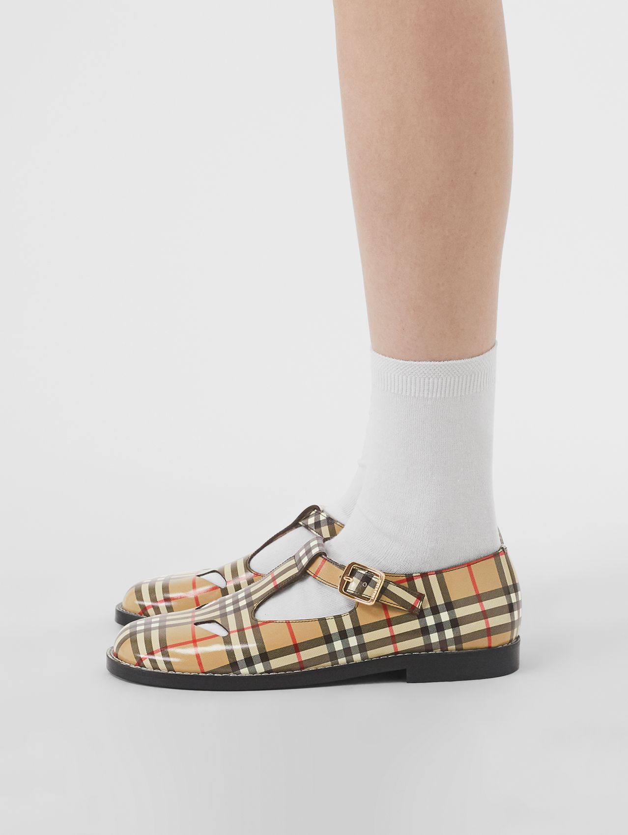 Vintage Check Leather T-bar Shoes (Archive Beige)