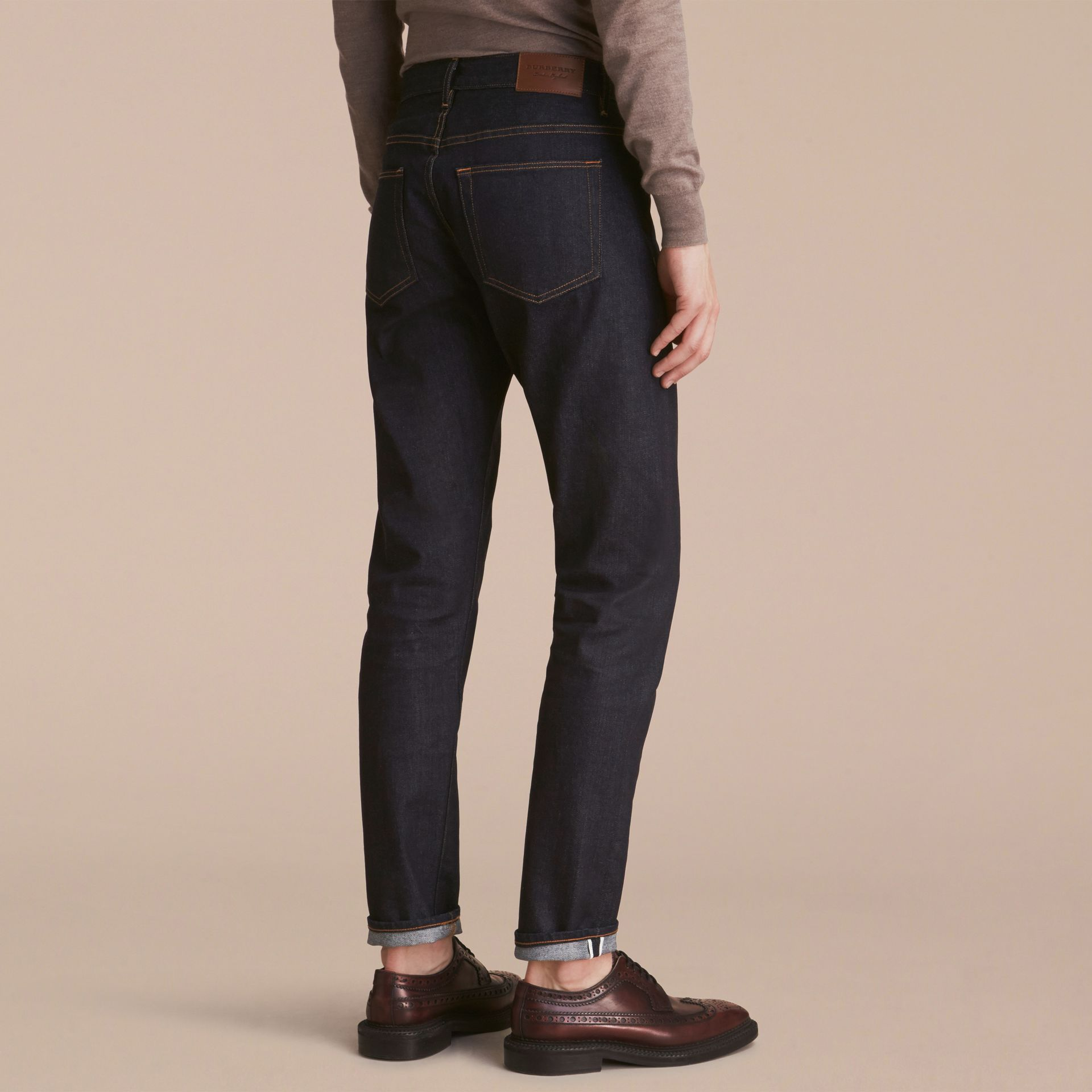 Relaxed Fit Comfort Stretch Indigo Japanese Denim Jeans - Men | Burberry - gallery image 3