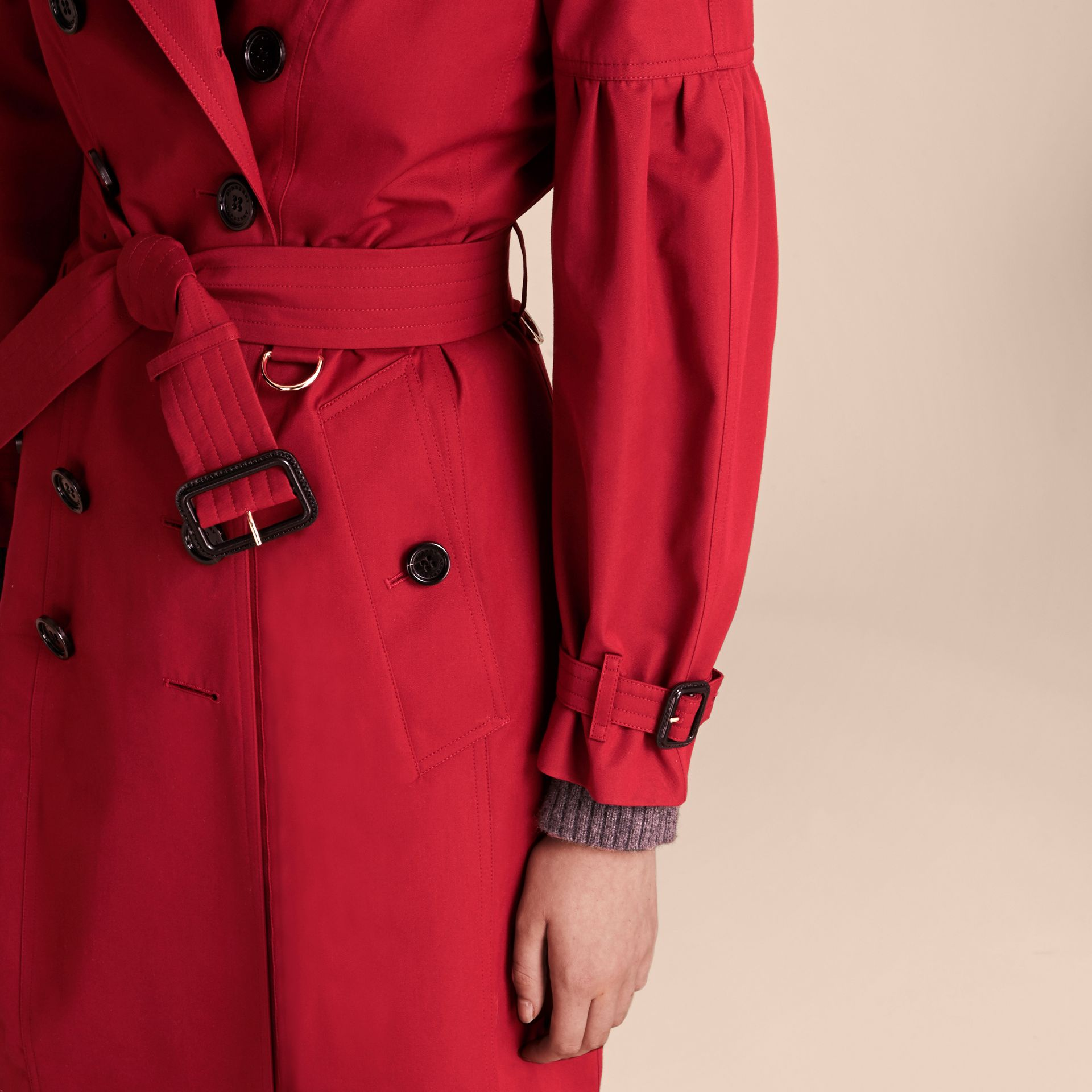 Parade red Cotton Gabardine Trench Coat with Puff Sleeves Parade Red - gallery image 5