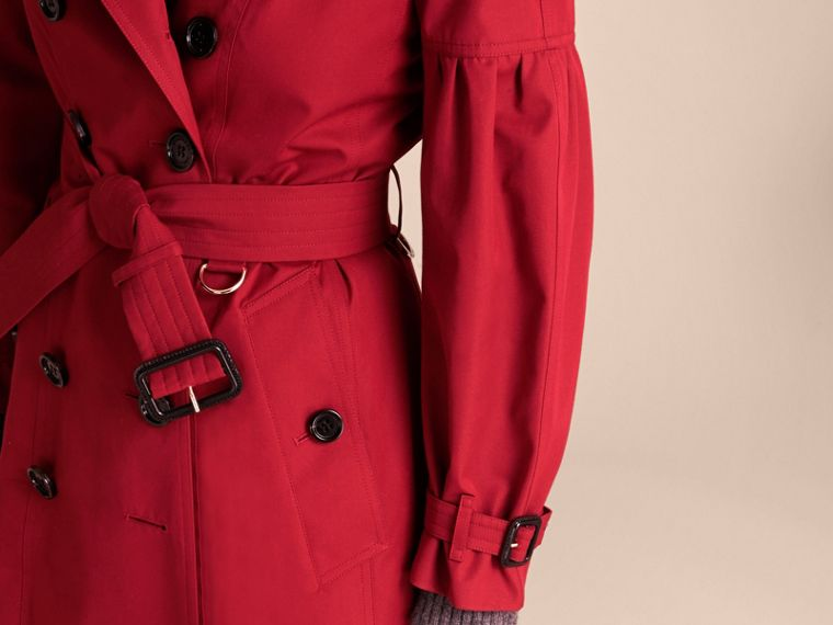 Parade red Cotton Gabardine Trench Coat with Puff Sleeves Parade Red - cell image 4