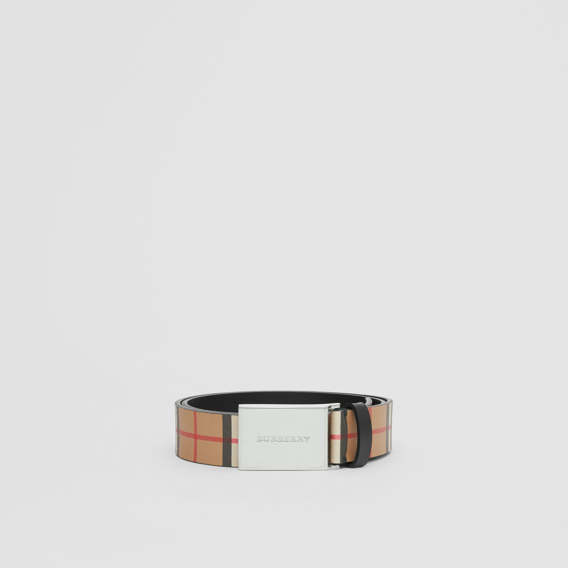 Plaque Buckle Vintage Check Leather Belt in Black - Men | Burberry Australia - gallery image 3