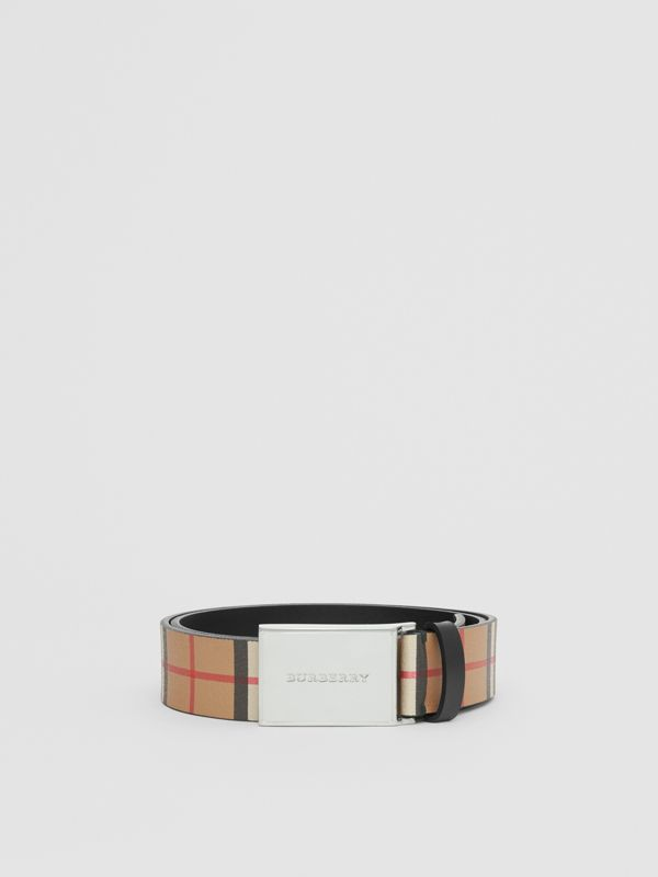 Plaque Buckle Vintage Check Leather Belt in Black - Men | Burberry United Kingdom - cell image 3