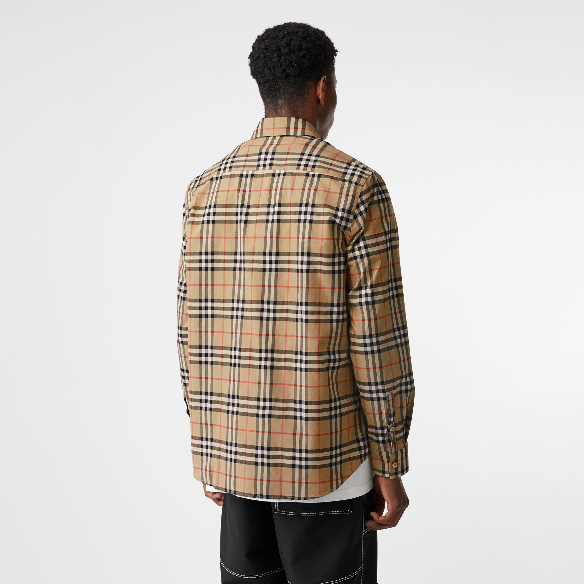 Logo Print Check Cotton Oversized Shirt in Archive Beige - Men | Burberry - gallery image 2