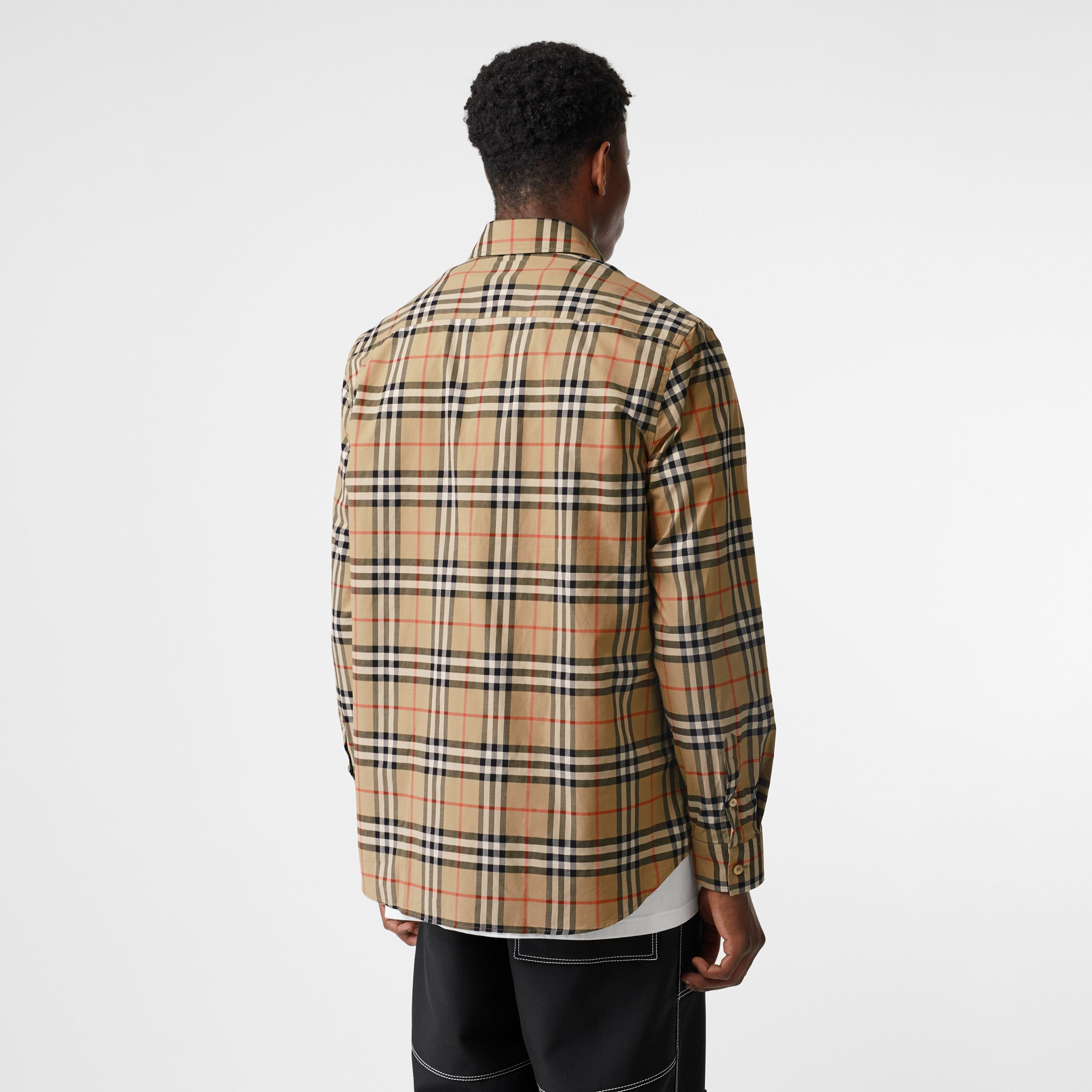 Logo Print Check Cotton Oversized Shirt in Archive Beige - Women | Burberry United States - 3