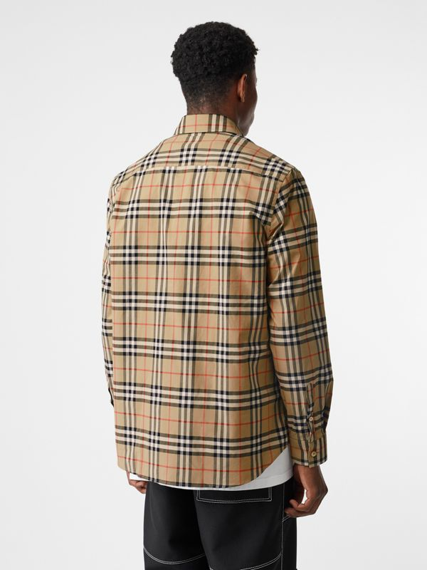 Logo Print Check Cotton Oversized Shirt in Archive Beige - Men | Burberry - cell image 2