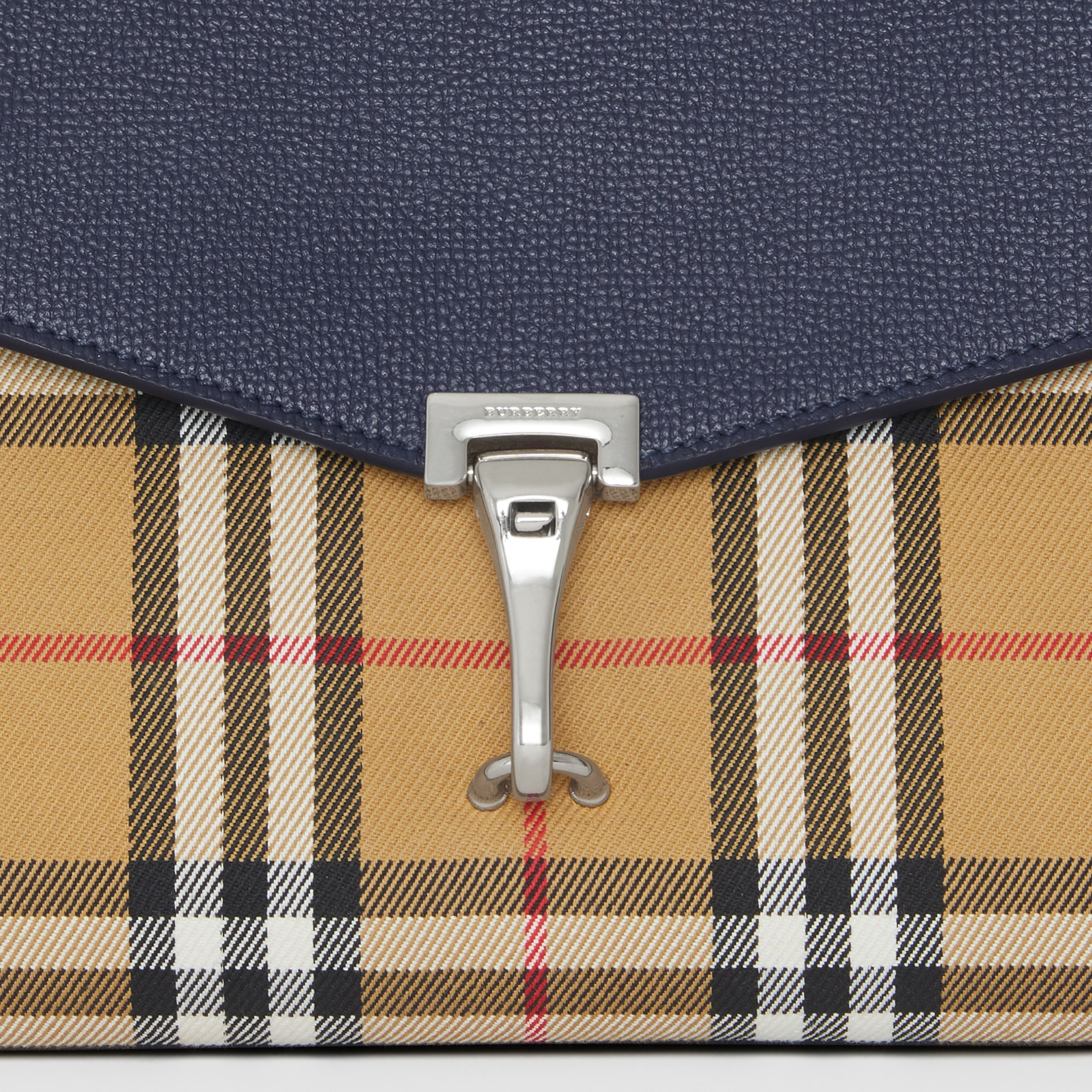 Small Vintage Check and Leather Crossbody Bag in Regency Blue | Burberry - 2