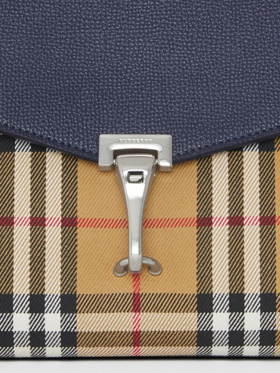 Small Vintage Check and Leather Crossbody Bag in Regency Blue - Women | Burberry Australia - cell image 1
