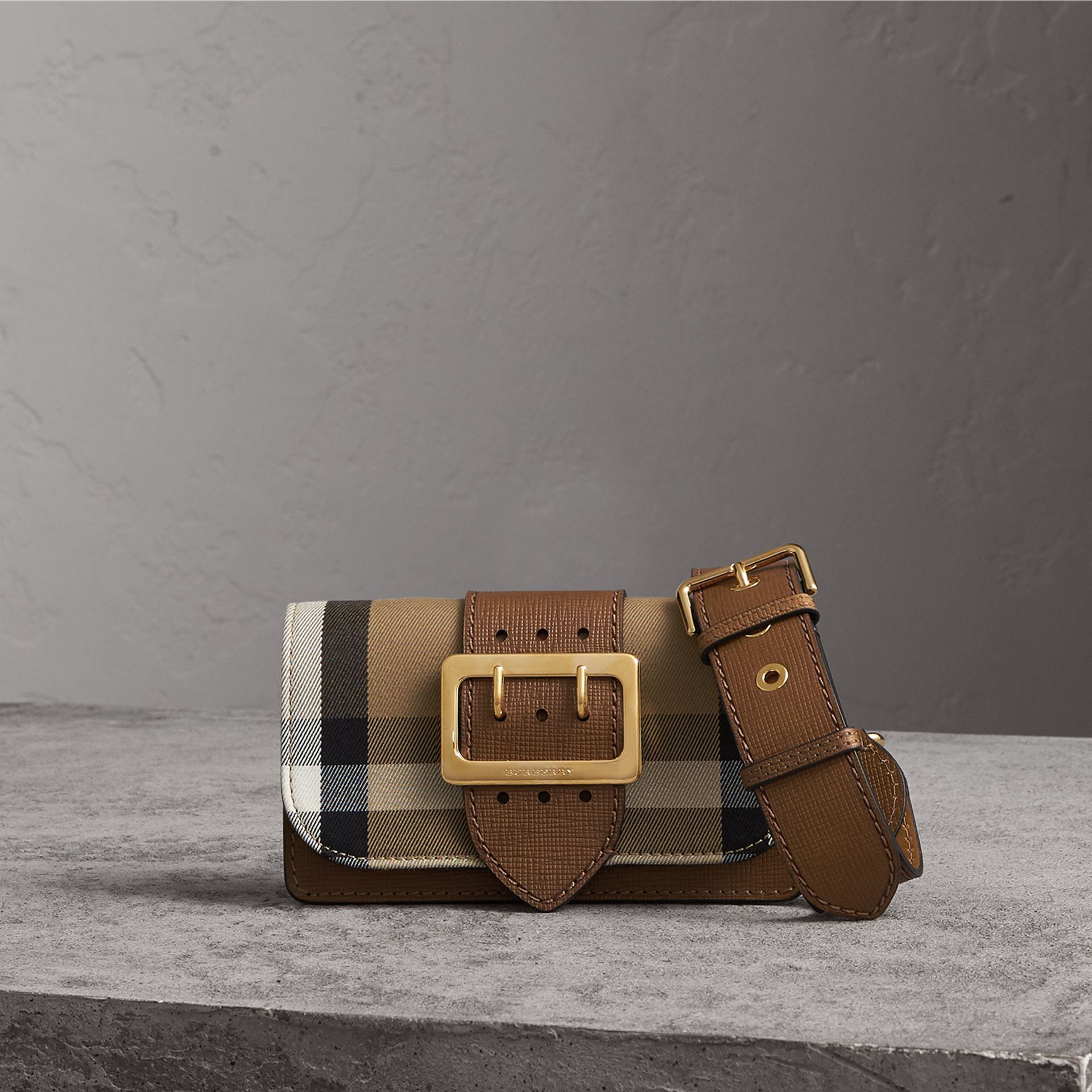 The Small Buckle Bag in House Check and Leather in Tan - Women | Burberry United States - gallery image 0