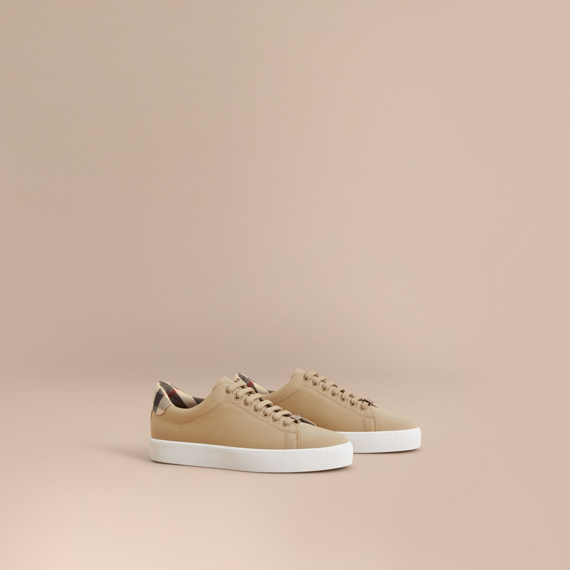 Check Detail Cotton Trainers in Honey - Women | Burberry - gallery image 1