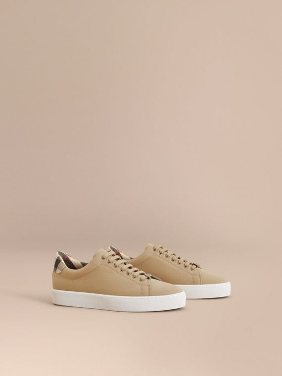 Check Detail Cotton Trainers in Honey