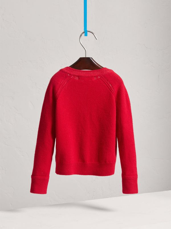Check Detail Cashmere Cardigan in Parade Red - Girl | Burberry - cell image 3