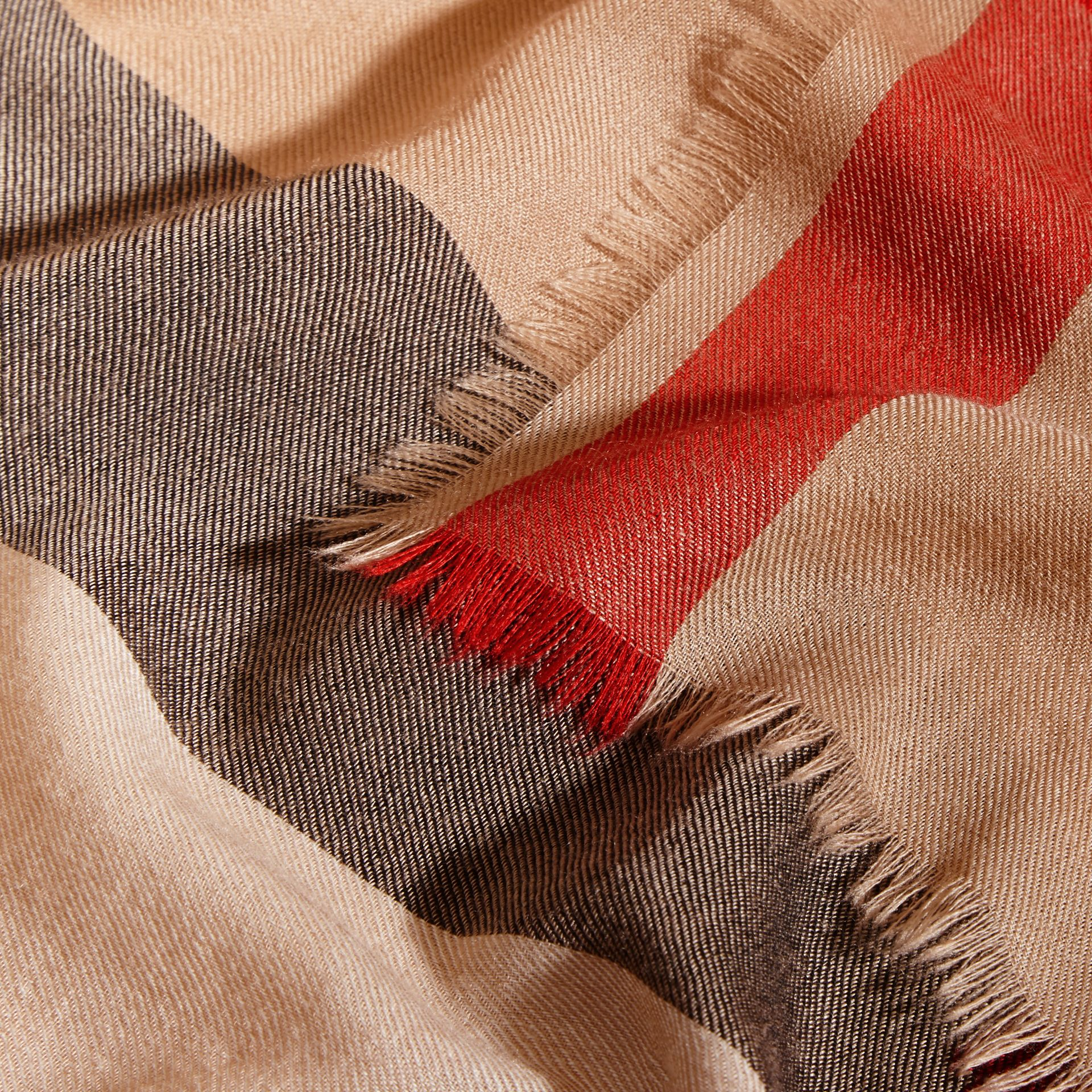 Extra-long Lightweight Cashmere Check Scarf in Camel | Burberry Singapore - gallery image 4