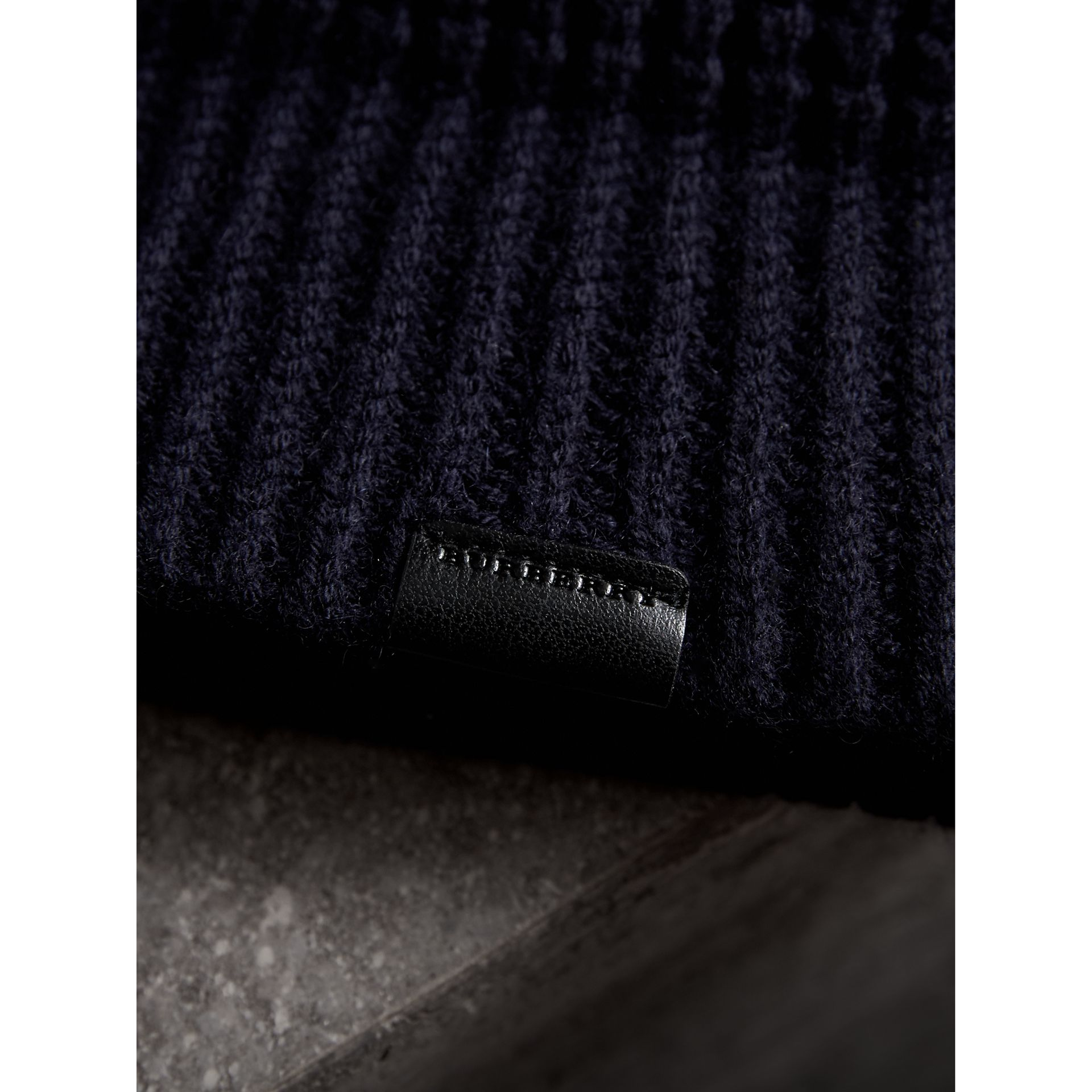 Cashmere Blend Waffle Knit Beanie in Dark Navy | Burberry Singapore - gallery image 1
