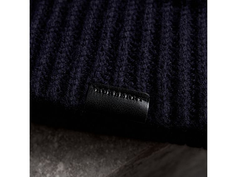 Cashmere Blend Waffle Knit Beanie in Dark Navy | Burberry - cell image 1