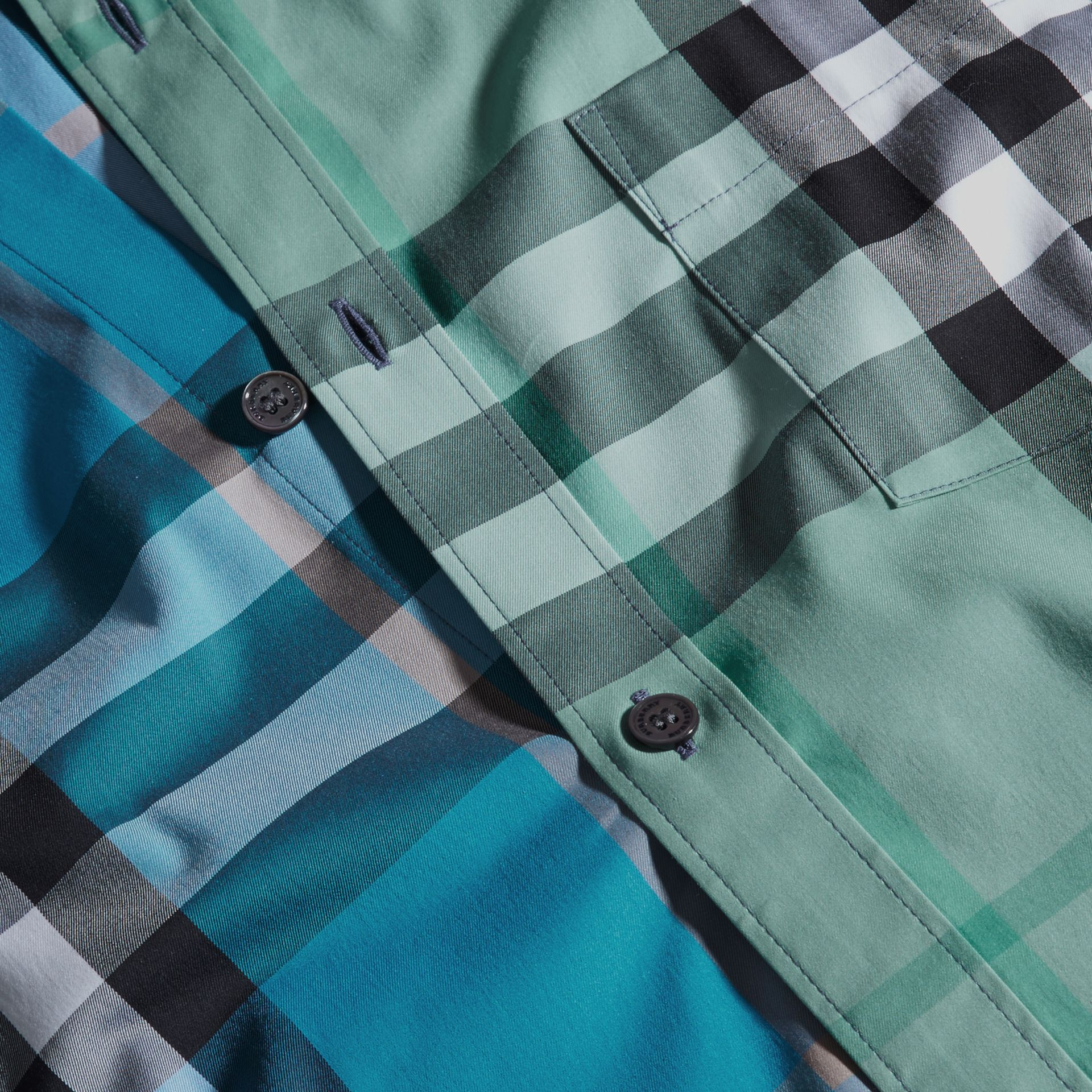 Cerulean blue Colour Block Check Cotton Blend Shirt Cerulean Blue - gallery image 2