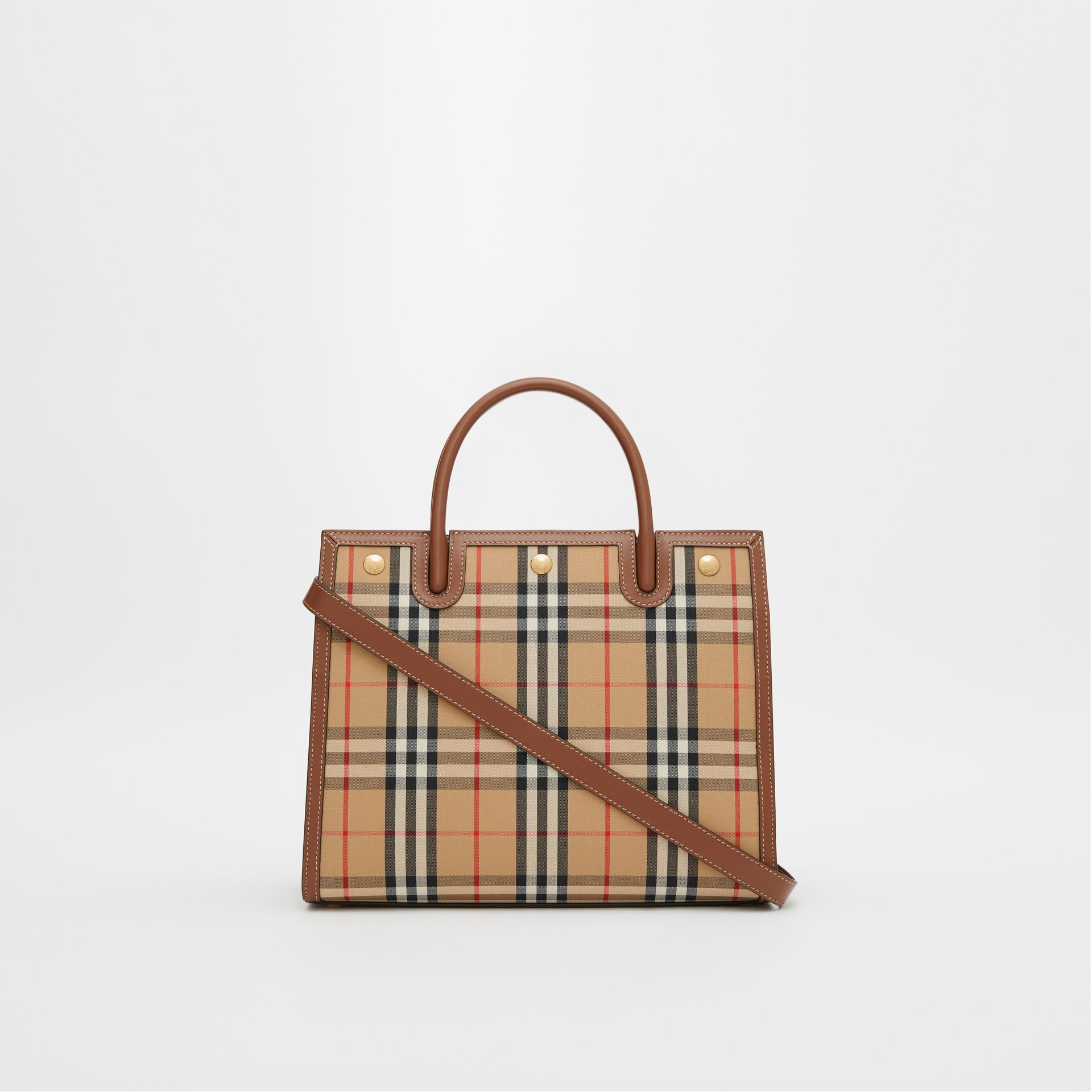 Mini Vintage Check Two-handle Title Bag in Archive Beige - Women | Burberry - gallery image 7