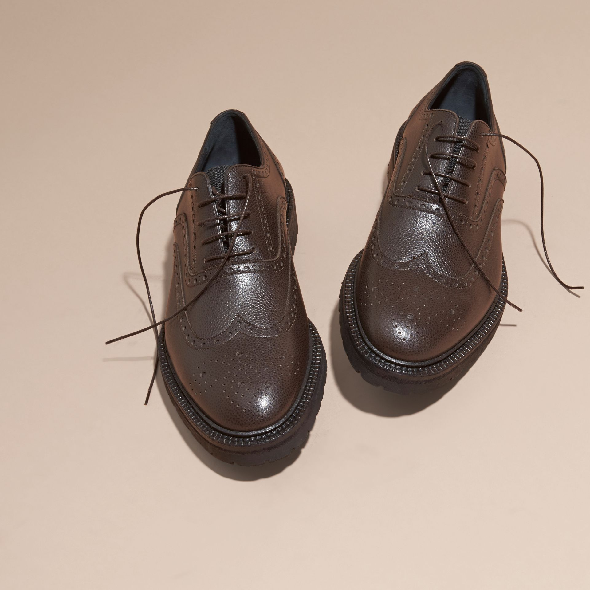 Bitter chocolate Grainy Leather Wingtip Brogue with Rubber Sole Bitter Chocolate - gallery image 3
