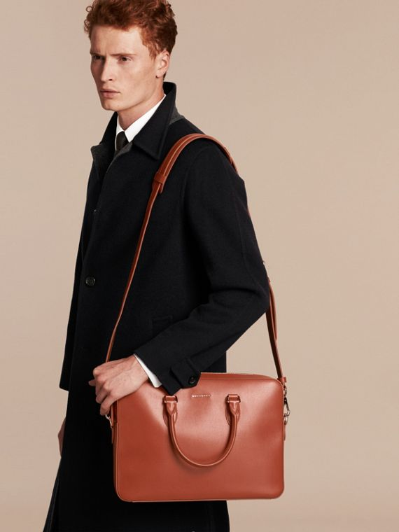 Medium London Leather Briefcase Burnt Sienna - cell image 2