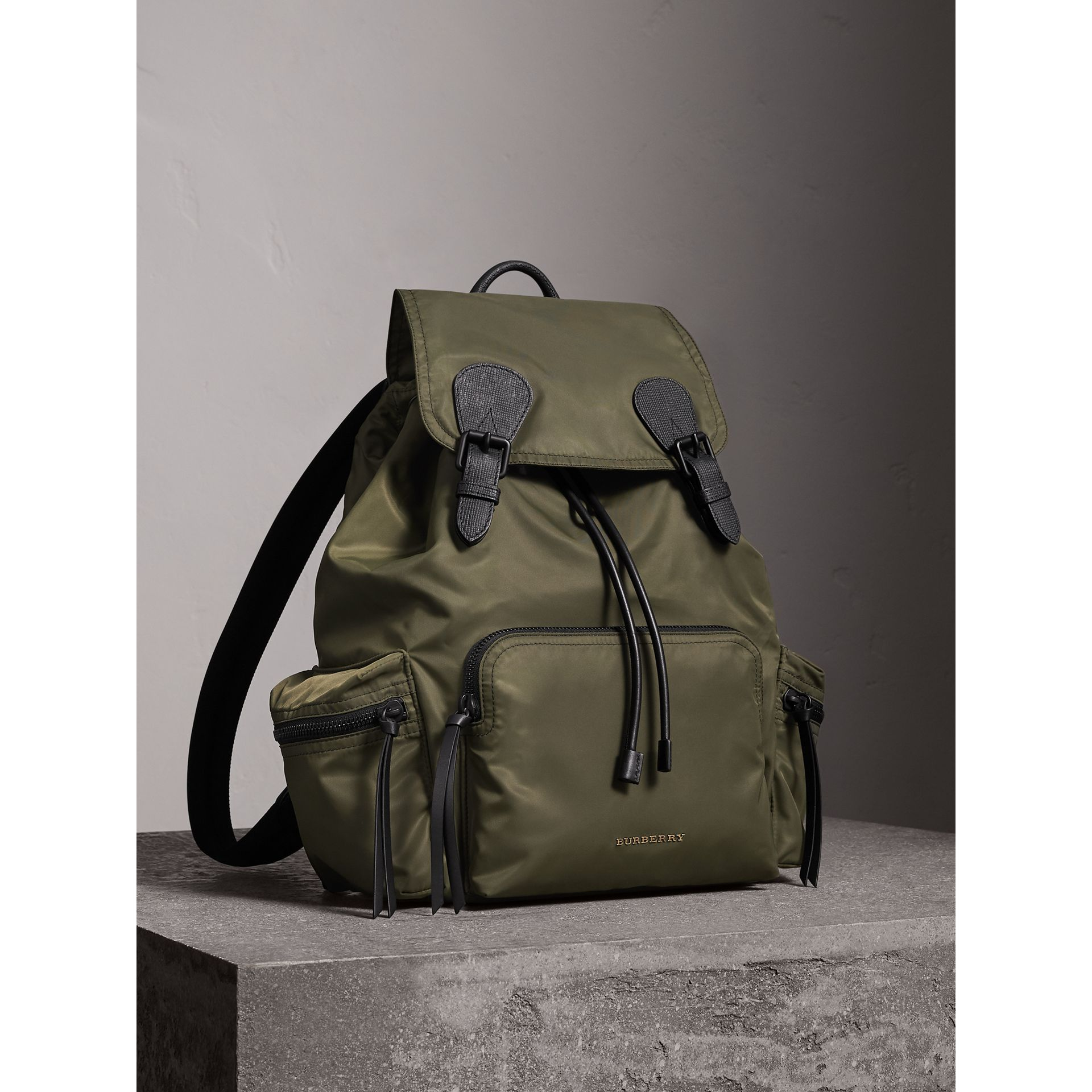 The Large Rucksack in Technical Nylon and Leather in Canvas Green - Men | Burberry - gallery image 1