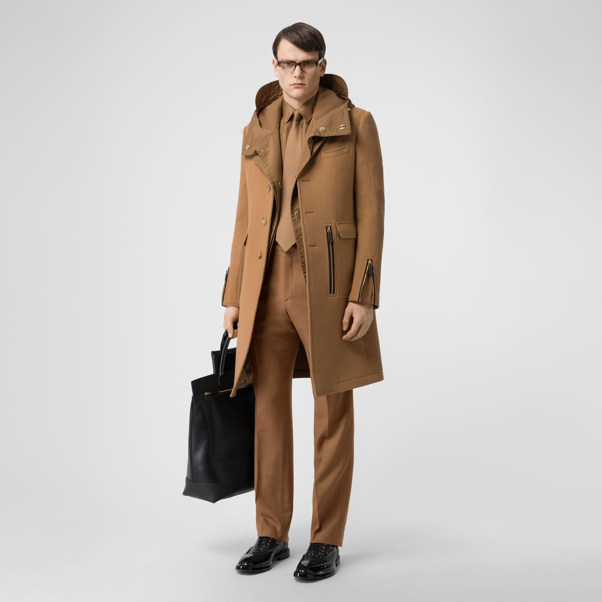 Zip Detail Wool Tailored Coat in Warm Camel - Men | Burberry Singapore - gallery image 0