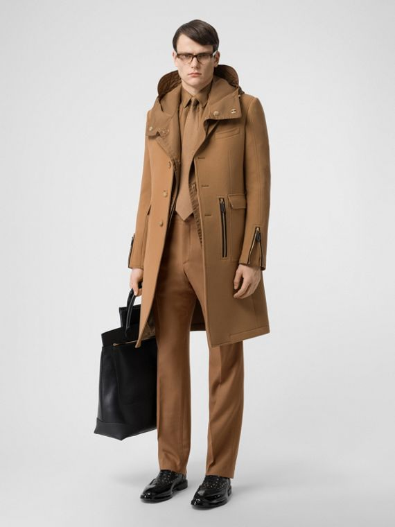 Zip Detail Wool Tailored Coat in Warm Camel