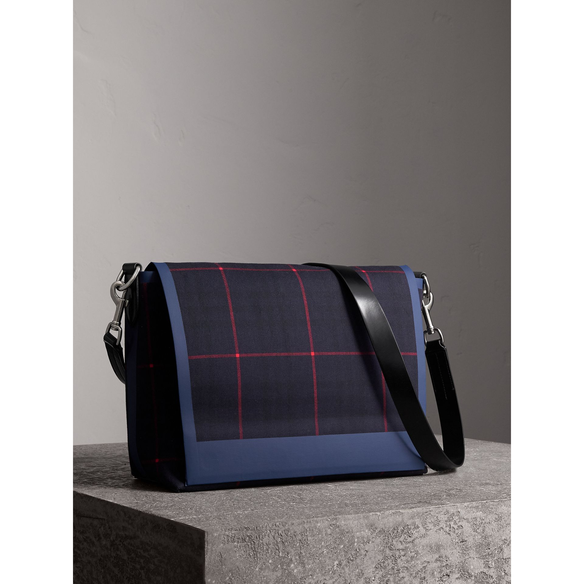 Large Tartan Cotton Messenger Bag in Deep Navy | Burberry Canada - gallery image 5