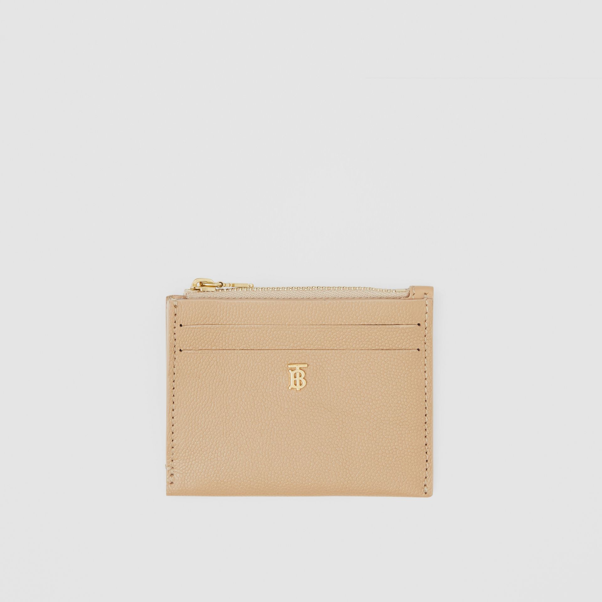 Monogram Motif Grainy Leather Zip Card Case in Archive Beige - Women | Burberry Canada - gallery image 0