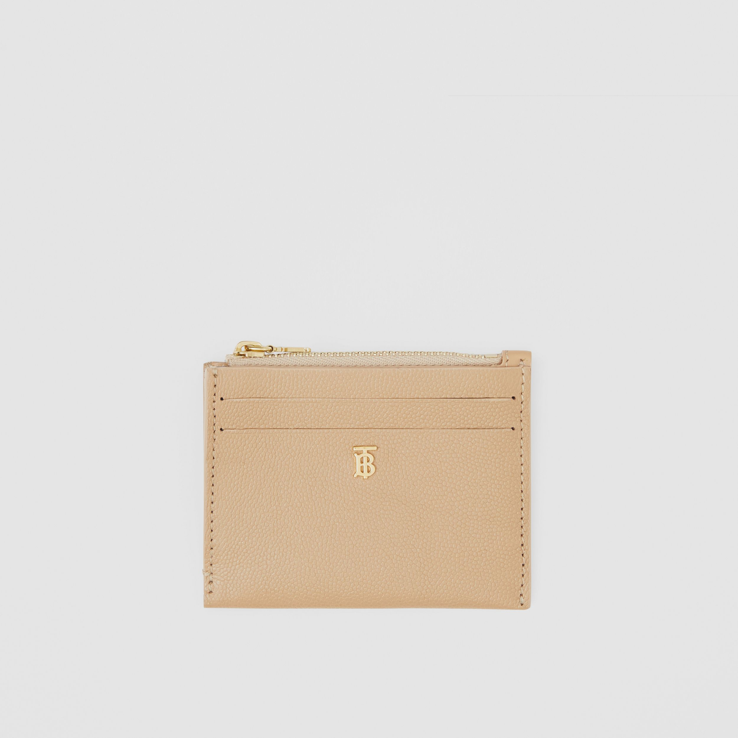 Monogram Motif Grainy Leather Zip Card Case in Archive Beige - Women | Burberry - 1
