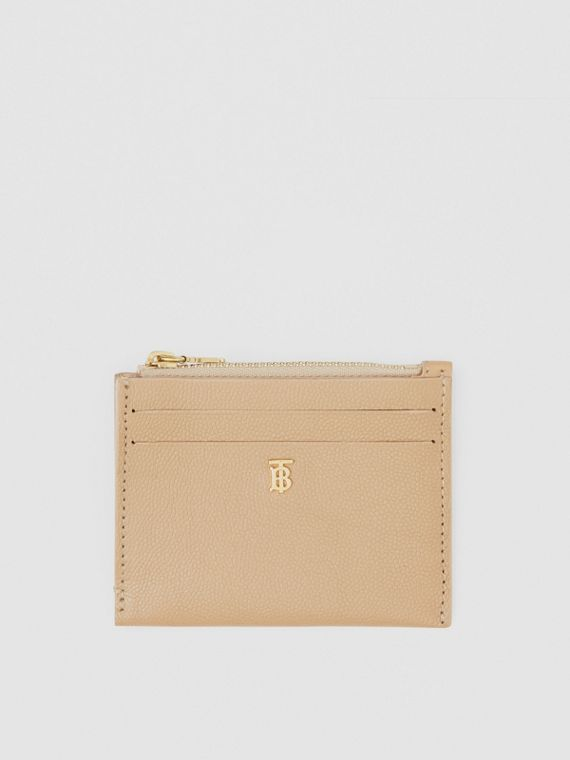 Monogram Motif Grainy Leather Zip Card Case in Archive Beige