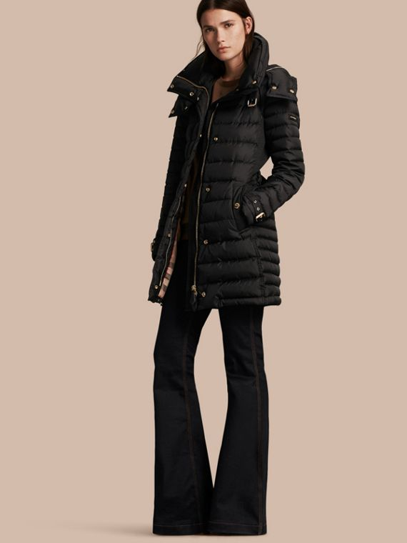 Down-filled Puffer Coat with Packaway Hood in Black