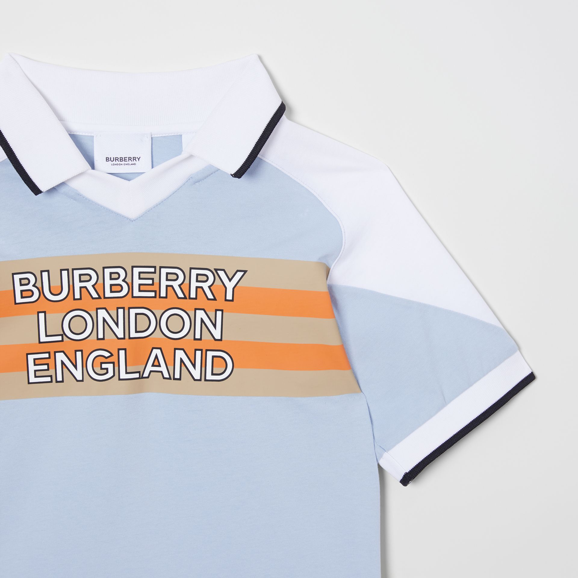 Logo Print Cotton Polo Shirt in Light Blue | Burberry United States - gallery image 4