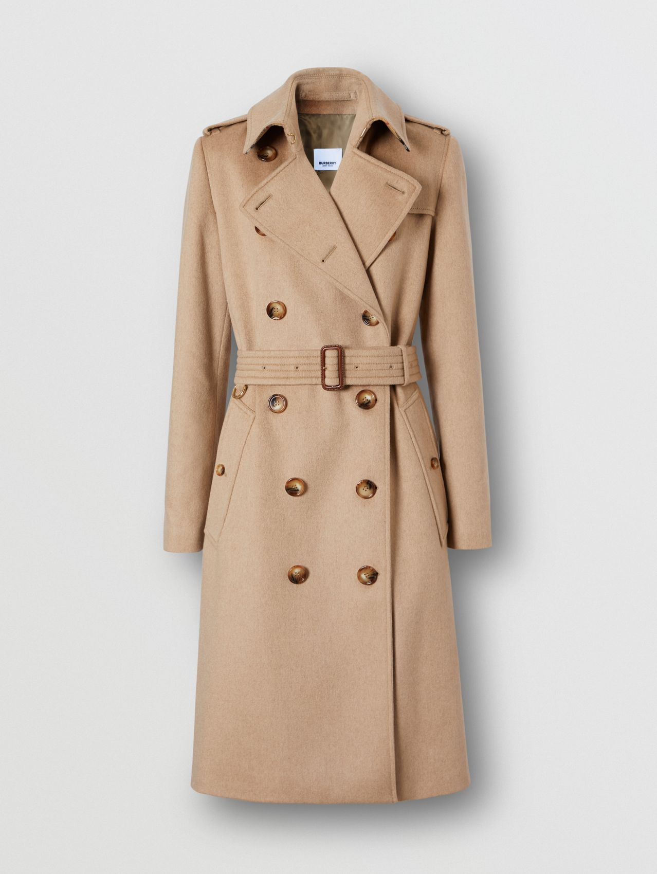 Regenerated Cashmere Trench Coat in Camel