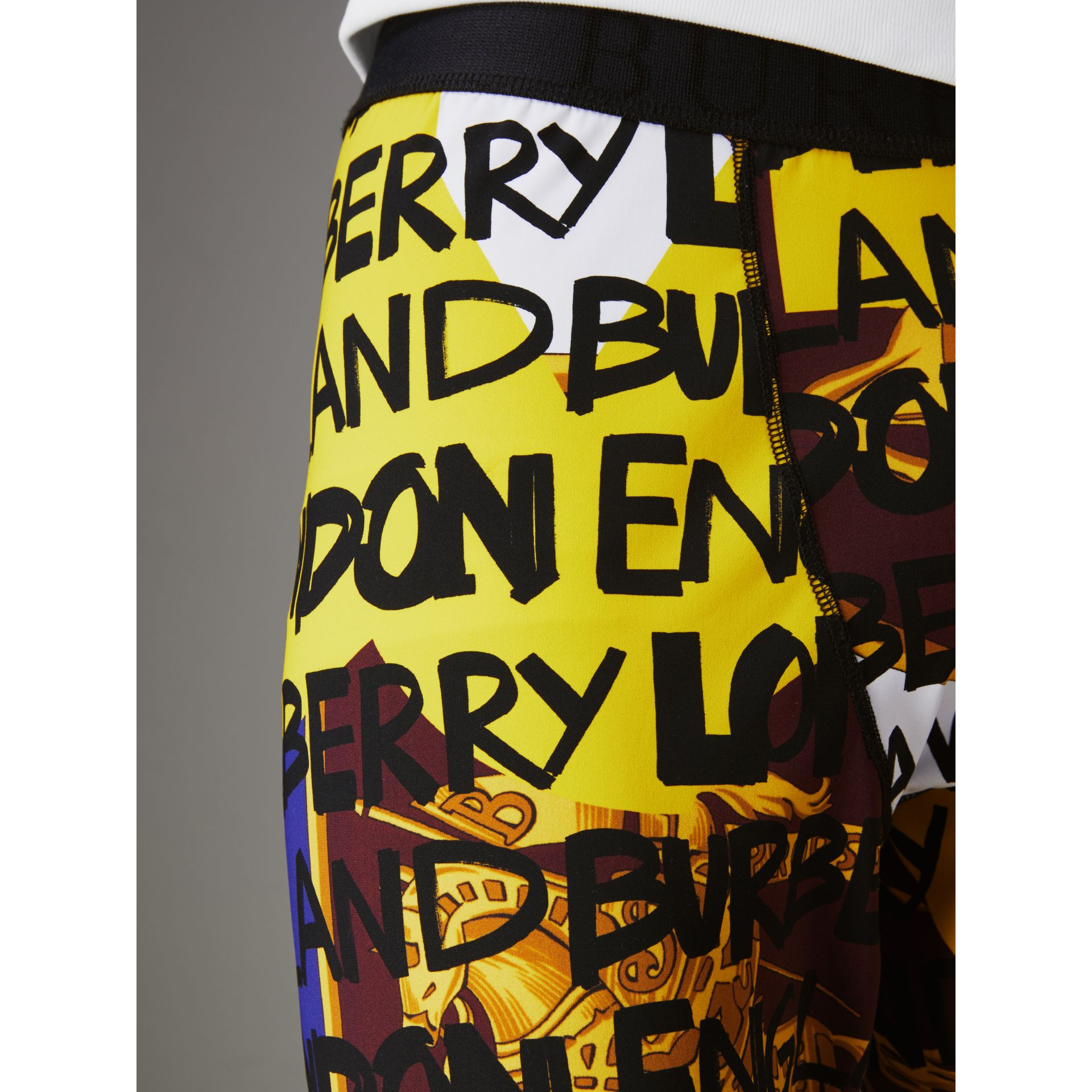 Graffiti Print Leggings in Bright Yellow - Men | Burberry United States - gallery image 1