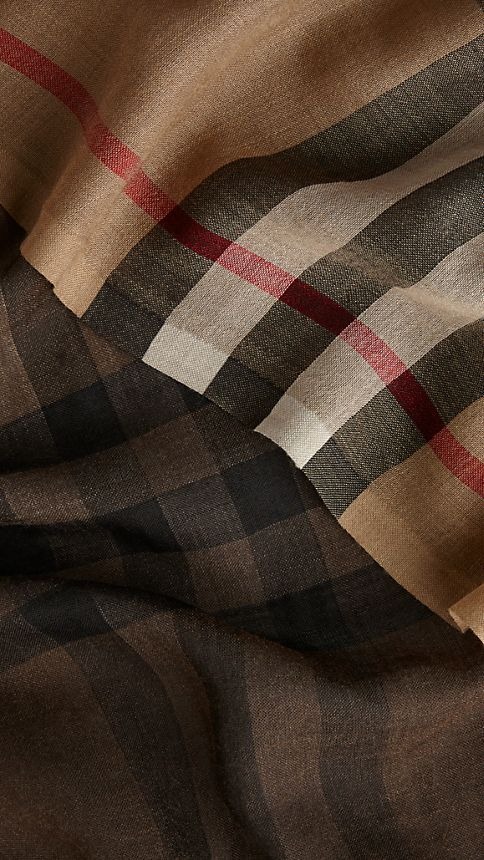 Camel check Lightweight Check Ombre Wool Silk Scarf - Image 4